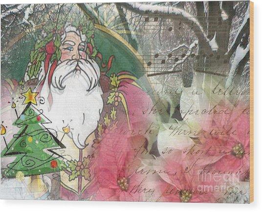 Santa's Snow Garden Wood Print