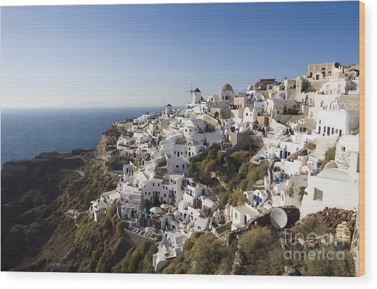 Santorini Cliff Wood Print