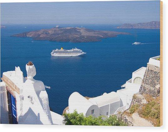 Santorini Cruising Wood Print