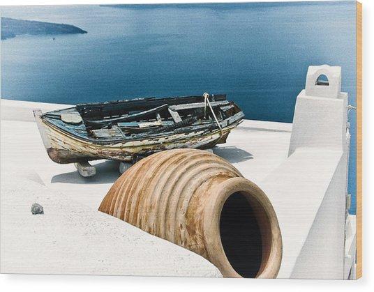 Santorini Still Life Wood Print by Scott Massey
