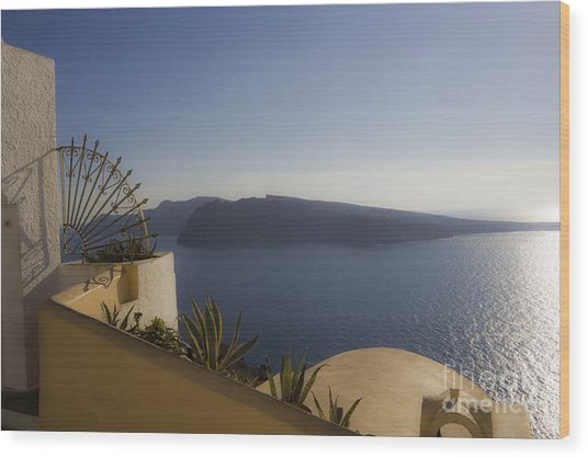 Santorini View Wood Print