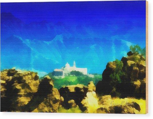 Santuario Della Madonna Della Guardia Di Genova Dall'altavia Dei Monti Liguri Wood Print