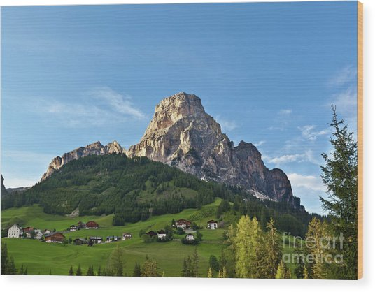Sassongher Tirol Northern Italy Wood Print