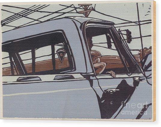 Saturday Afternoon - Linocut Print Wood Print by Annie Laurie