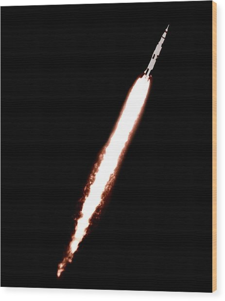 Saturn 5 Test Launch Wood Print by Nasa