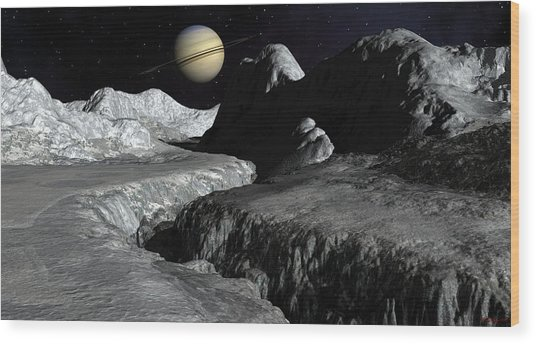Saturn From The Surface Of Enceladus Wood Print