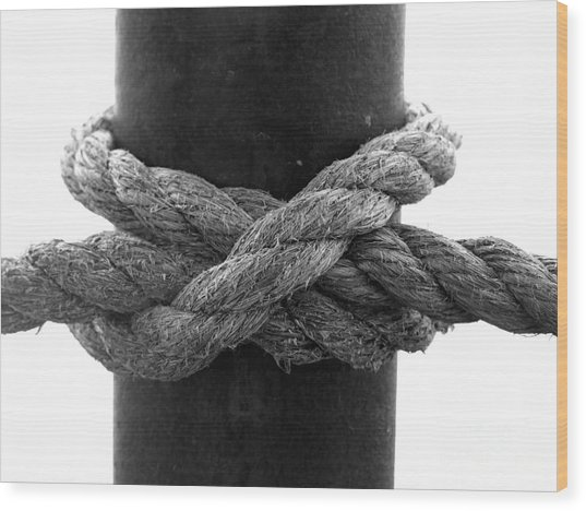Saugerties Lighthouse Rope Knot Photograph Wood Print