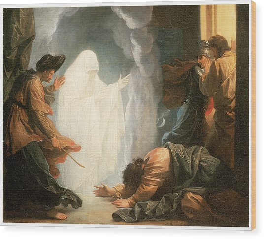 Saul And The Witch Of Endor Wood Print by Benjamin West