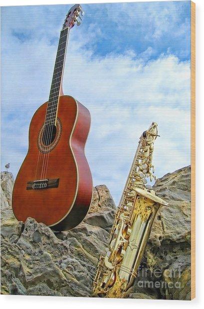 Sax And Guitar Wood Print