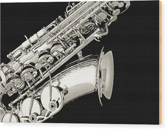 Saxophone Black And White Wood Print