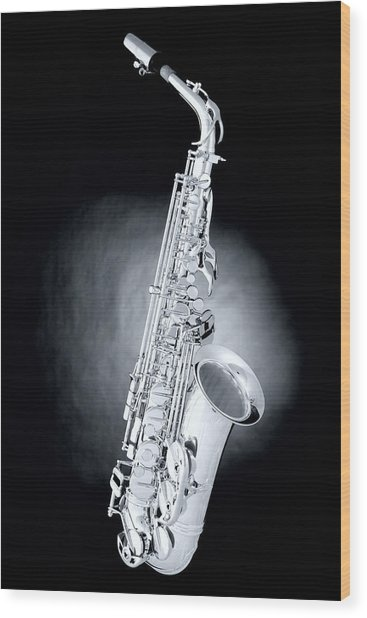 Saxophone On Spotlight Wood Print