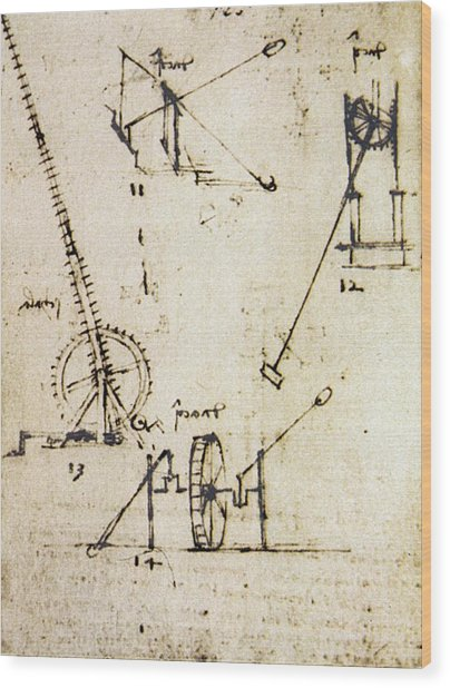 Scaling Ladder By Leonardo Da Vinci Wood Print by