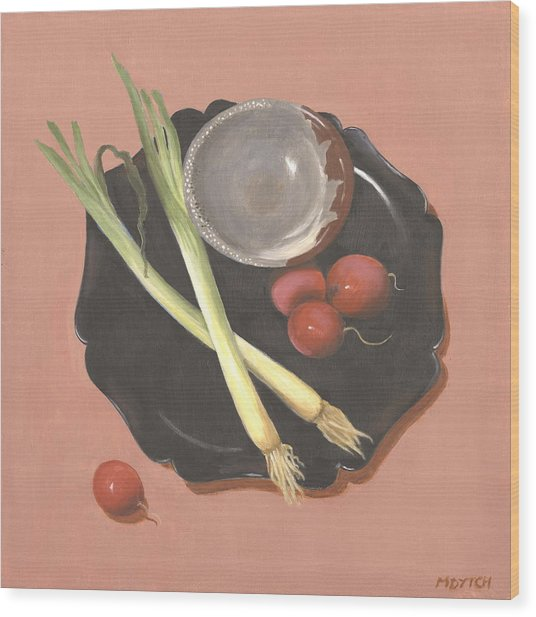 Scallions And Radishes Wood Print by Meredith Dytch