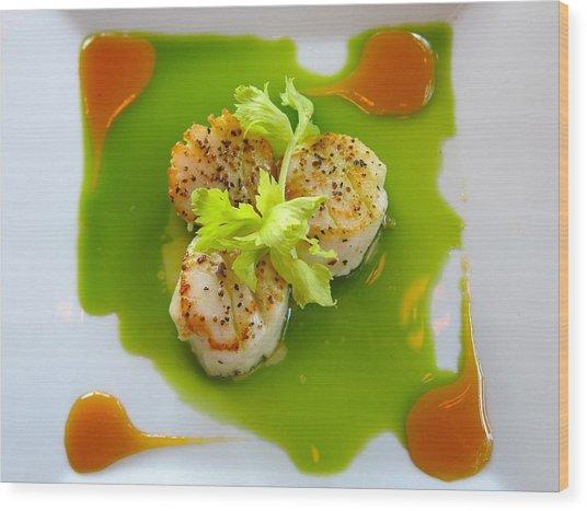 Scallops In Green Sauce Wood Print