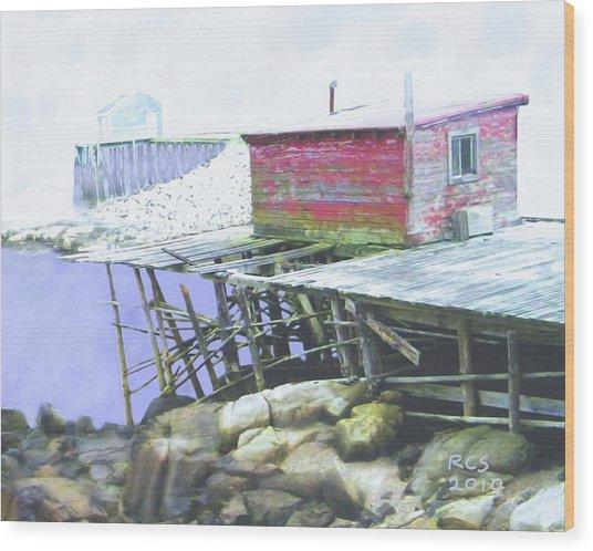 Schoodic Pier Wood Print
