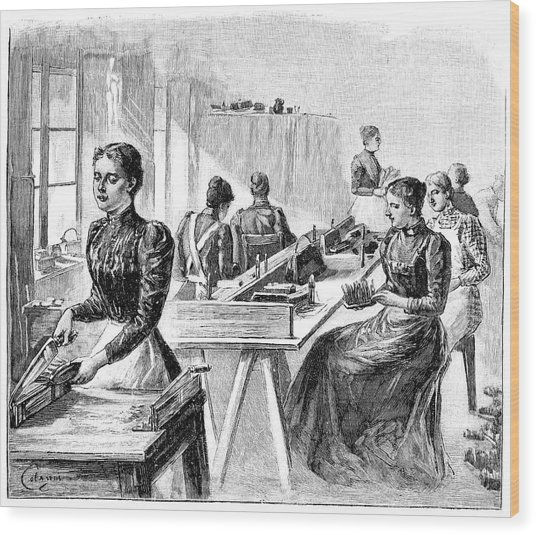 School For The Blind, 19th Century Wood Print by