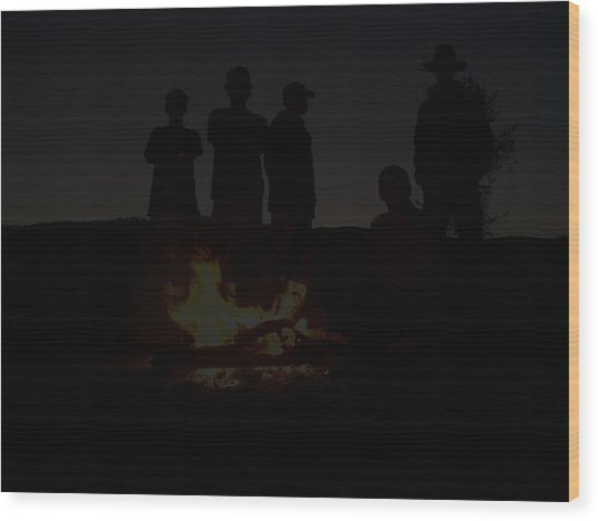 Scout Camp Fire Wood Print by LaDonna Vinson