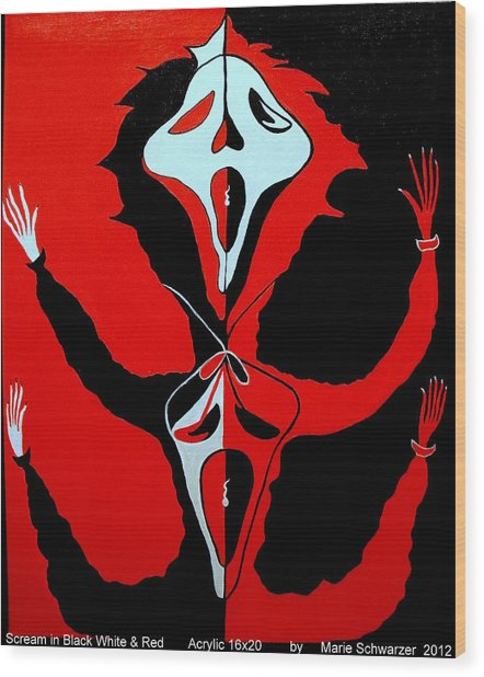 Scream In Black White And Red Wood Print