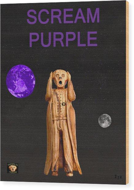 Scream Purple Wood Print by Eric Kempson