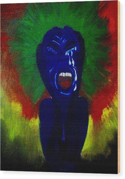 Scream Wood Print by Violette L Meier