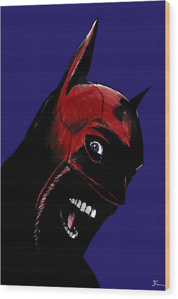Screaming Superhero Wood Print