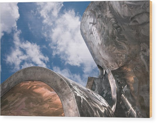 Sculpture And Sky Wood Print