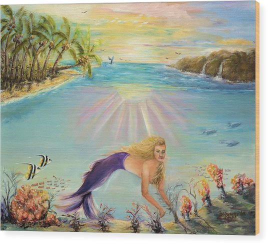 Sea Mermaid Goddess Wood Print