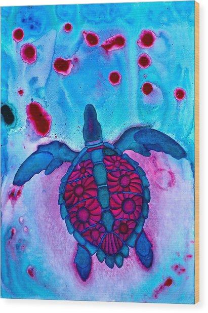 Sea Turtle Take Off Wood Print