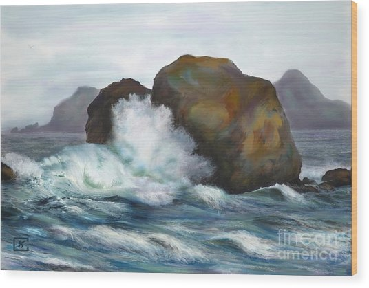 Seascape Rocks And Surf Wood Print by Judy Filarecki