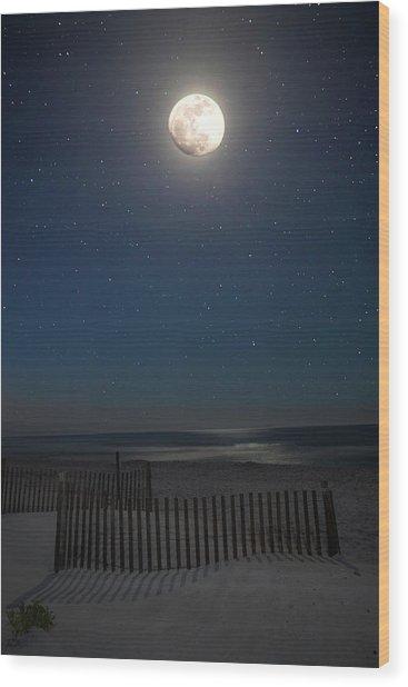 Seaside Moonset Wood Print