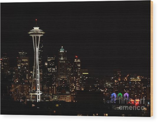 Seattle At Night Wood Print by Alan Clifford