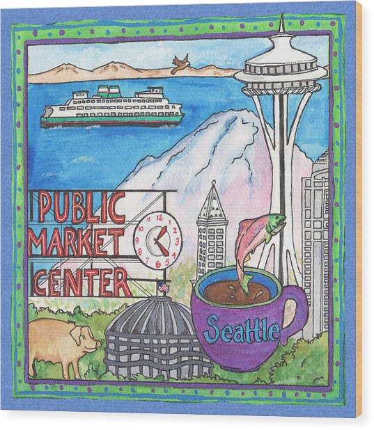 Seattle Montage Wood Print by Pamela  Corwin