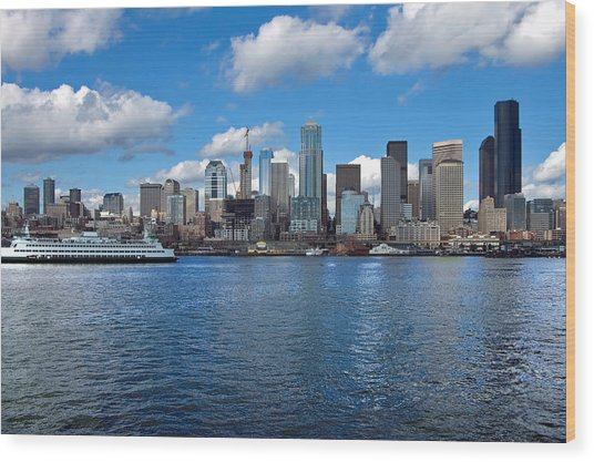 Seattle Skyline Wood Print by Richard Leon