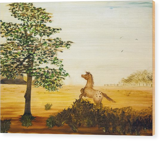 Wood Print featuring the painting See Spot Run by Judy Hall-Folde
