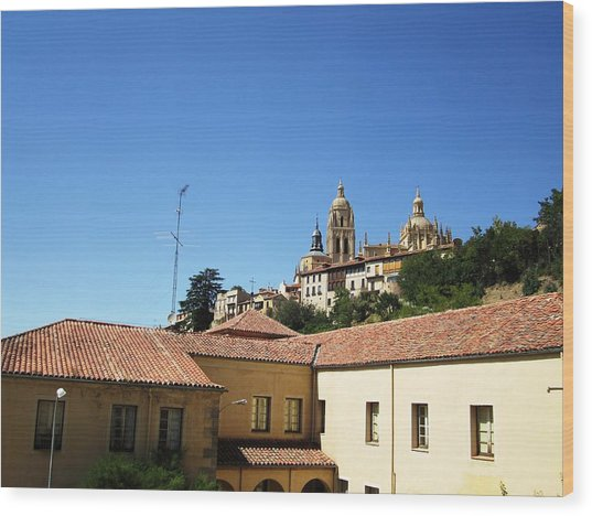 Segovia Castle Alcazar View Of Homes In The Hills Below With Blue Sky In Spain Wood Print