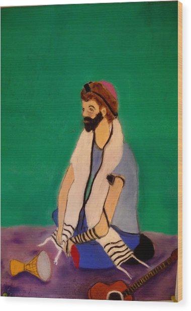 Self-portrait Wood Print by Eliezer Sobel