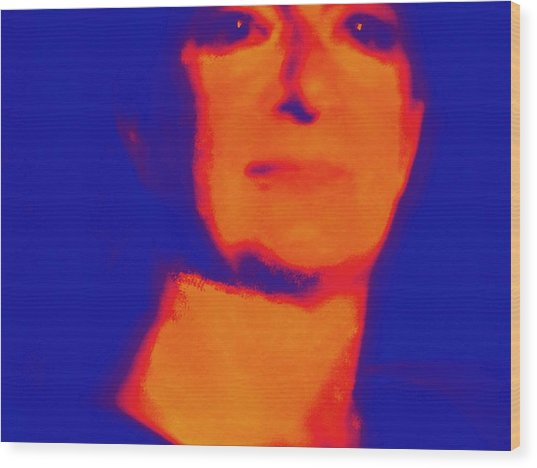 Self Portrait On Fire For The Future Wood Print by Carolina Liechtenstein
