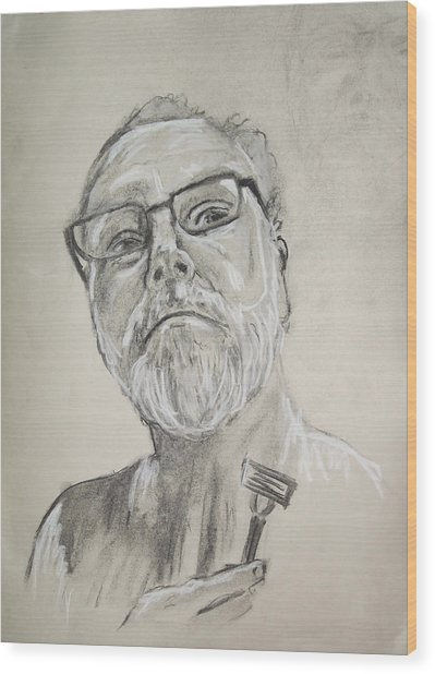 Self Portrait Wood Print by Peter Edward Green
