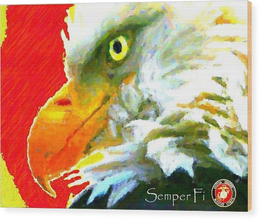 Semper Fi Wood Print by Carrie OBrien Sibley