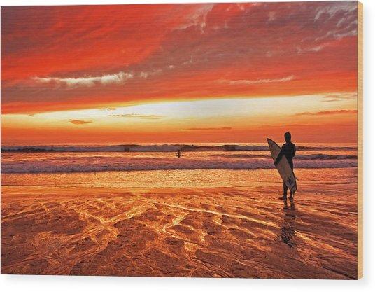 Sensational Sunset Surf Wood Print by Donna Pagakis