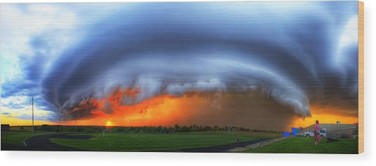 September Supercell Wood Print by Evan Ludes