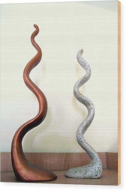 Serpants Duo Pair Of Abstract Snake Like Sculptures In Brown And Spotted White Dancing Upwards Wood Print