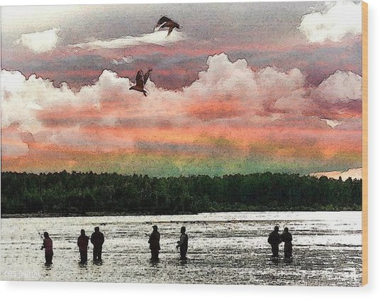 Seven Fishermen Wood Print