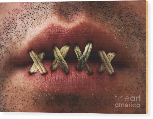 Sewn Mouth Wood Print by Blink Images