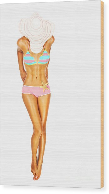 Sexy Fit Woman Body In Bikini Wood Print by Anna Om