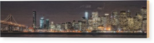 Sfo At Nite Wood Print by Gary Rose