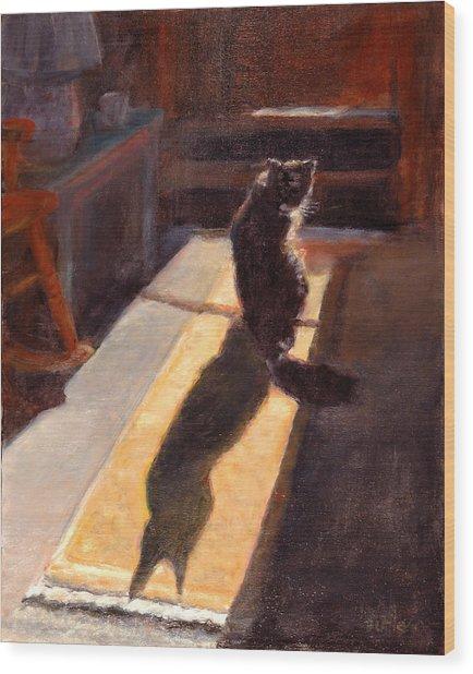 Shadow Cat Wood Print by Rita Bentley