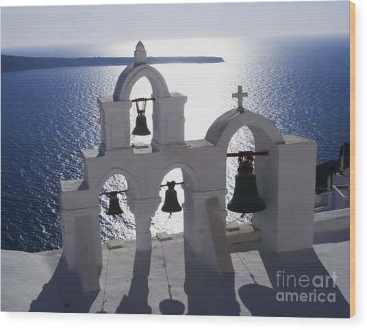 Shadows Of Santorini Wood Print