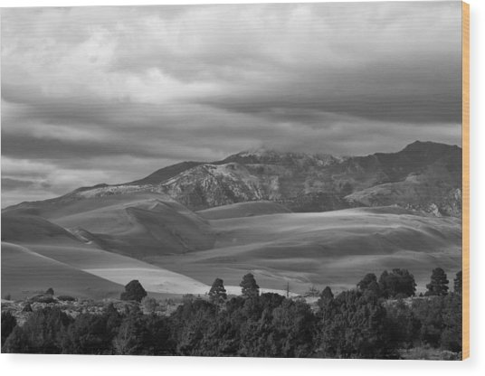 Shadows Sand Mountians Wood Print