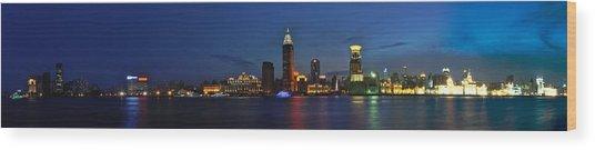 Shanghai Bund Panorama - Night Wood Print